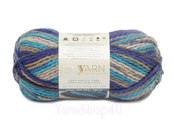 CASCADE Ombre Bulky Yarn. All Things You Yarn Premium Acrylic. Blue and Grey Ombre Yarn. Soft yarn Variegated. Same as Charisma Cascade. >