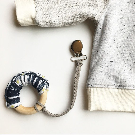 GRAY NomiLu Braided Suede Pacifier Clip