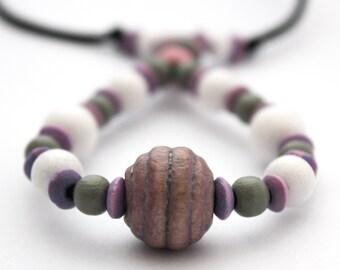 Fiddle necklace, breastfeeding necklace, babywearing accessory, nursing necklace, unique beaded necklace, white grey lavender
