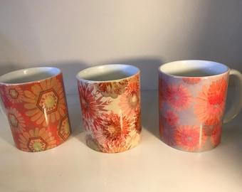 Set of 3 Patterned Floral Mugs