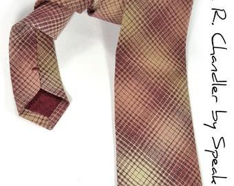 Men Necktie Woven yarn dyed red and cream checkered tie