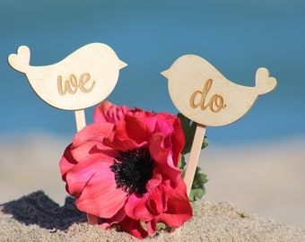 Lovebirds Cake Topper WE DO - Cupcake Topper - Personalized Wedding - Beach wedding - Bride and Groom
