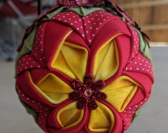 Red Blossom Quilted Ornament