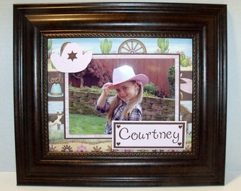 Cowgirl Horse Theme Photo Mat - UNFRAMED 8x10 mat for 4x6 or 5x7 horizontal or vertical photo