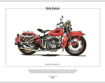 HARLEY DAVIDSON WL - Fine Art Print - Classic American Flathead V-Twin Motorbike