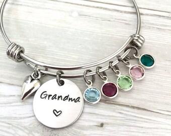 Custom Grandma Bracelet, Gift For Grandma, Nana Bracelet, Birthstone Bracelet, Christmas Gift, Mother's Day, Hand Stamped, Grandma's Gift