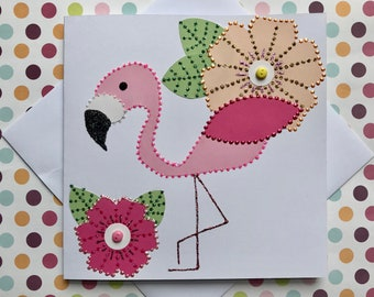 Pink Flamingo Card - Greetings Card - Birthday Card - Handmade - Glitter and Pearls - Bobble and Button