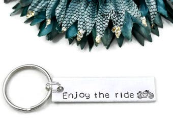 Enjoy The Ride Keychain | Motorcycle Gift | Hand Stamped Keychain | Motorcycle Keychain | Life Is A Journey Enjoy The Ride Keychain