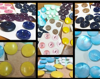 Hand Carded Vintage Button Collection - Vintage Button Assortment - Yellow Pink Blue Buttons - Shank and  Flat Buttons - B22 - 52 Buttons