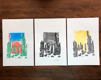 Desert Scene - Original Block Print