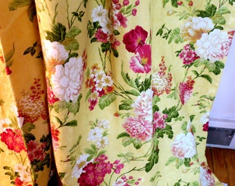 "DRAPES 2 Panels  Bright Lemon Yellow Matelesse Cotton Lined Damask Thomasville NOS 38""w x  84"" L"