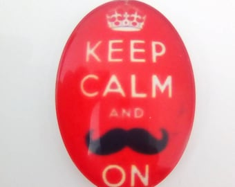 Glass cabochon oval red black mustache 25x18mm