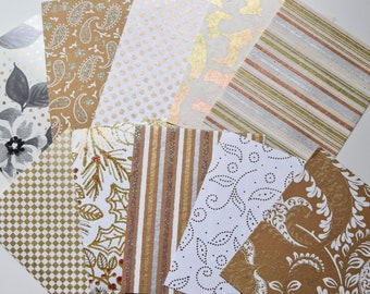Shades of Gold Fine Paper Pack: 10 Metallic and Embossed Patterned Sheets, Paper Crafts, Scrapbooking, Cards, Gift Tags, Paper Art