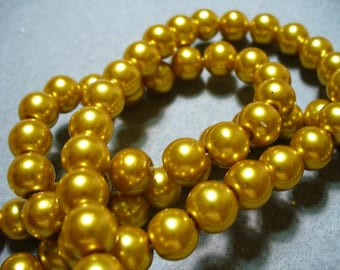 Glass Pearls Gold 8mm