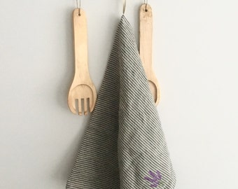 Striped Washed Linen Tea Towel With Embroidery Lavender 17,7'' x 27,6'' (45x70cm), Linen Dish Towel, Linen Kitchen Towel