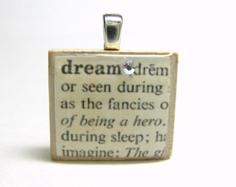 Dream - vintage dictionary Scrabble tile with Swarovski crystal