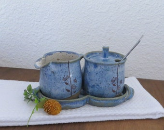 Sugar and Creamer 3 Piece Set - Handmade Stoneware Ceramic Pottery - Sky Blue and White - Floral - 10 ounce