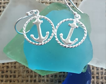 Anchor with Rope Halo Earrings-Sterling Silver*