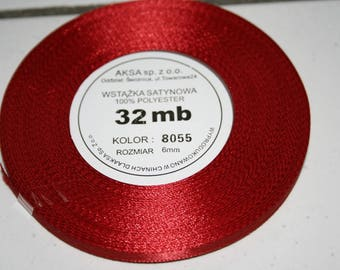 32 meters of 6 mm Red satin ribbon