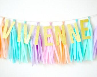 Pastel Rainbow Glitter Tassel Banner - One Stylish Party