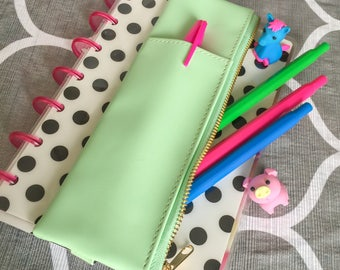 Mint PEN & PENCIL CASE Zippered Planner Pouch Green Leather Like Zip Organizer w/ Pocket Elastic Band Planners Journal Notebook Carry Holder