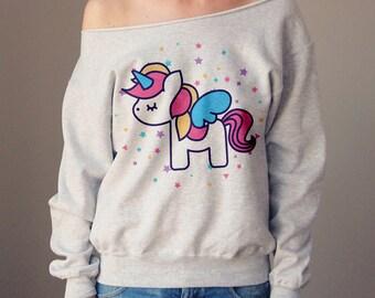 De hombro unicornio Sweater hombro superior Linda sudadera sudadera Slouchy ropa divertido sudadera mujer gran tamaño suéter lindo