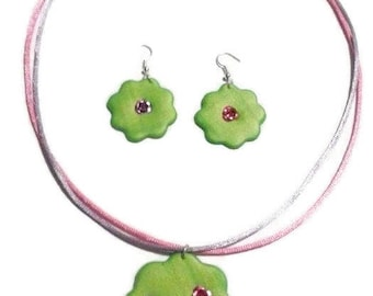 Necklace set - Earrings green flower Pearl and small roses