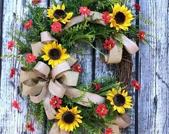Sunflower Wreath, Sunflower Decor, Summer Wreath for Front Door, Year Round Wreath,  Mothers Day Gift, Summer Sunflower Wreath