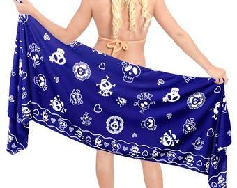 LA  LEELA  Women Short Sarong Wrap Skirt Pareo Swimsuit Bathing Suit Mini Coverup Beachwear - Blue- 906067