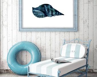 Blue SeaShell, Blue shell, Nautical home decor