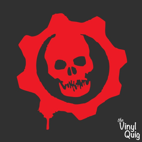 Gears of war logo vinyl sticker red or white inspired like this item voltagebd Choice Image