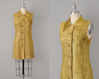 60s Dress // 1960's Gold Lamé Mini Pocket Dress // S