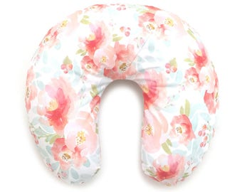Nursing Pillow Cover Pink Plush Floral. Nursing Pillow. Nursing Pillow Cover. Floral Nursing Pillow Cover.
