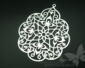 P161-02-MR// Matt Rhodium Plated Gothic Filigree Pendant, 2pcs