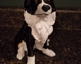 Hand Painted Customized Border Collie Statue