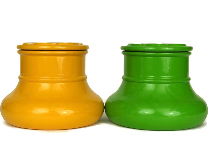 Glass Canister Set. 1970s French Storage Jars. Vintage Mustard Yellow and Green Kitchen Decor. Daisy Pattern.