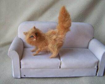 Ooak Miniature Dollhouse Ginger Norwegian Forest Cat by Malga
