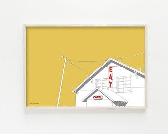 "mid century modern art, mid century modern wall art, cafe, kitchen wall art, kitchen wall decor, kitchen art, wall art - ""Truck Stop Cafe"""