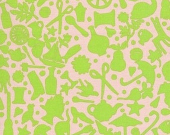 """Kaffe Fassett Folk Art Lime GP119 Sewing Notions Pink New BTHY Rowan Westminster Fasset Half Yard 18"""" Quilt Fabric"""