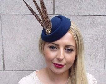 Navy Blue Gold Brown Pheasant Feather Pillbox Hat Fascinator Vtg Races Clip 3914