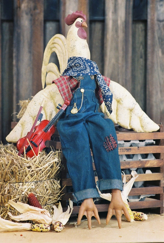 Cock-a-doodle-roo - Mailed Cloth Doll Pattern - 27in Country Barnyard Rooster Bird