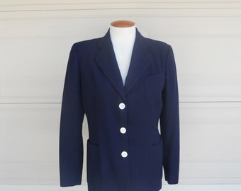 Navy Blue Wool Blazer Vintage 60s Derek Rayne Importers Carmel-by-the-Sea Jacket