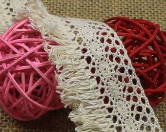 x 1 meter Ribbon lace with fringe cotton beige Y04004 LS wide 4 CM