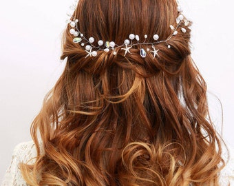 Bridal hair accessory, wedding accessory, Starfish accessory, Bridal head piece, wedding.