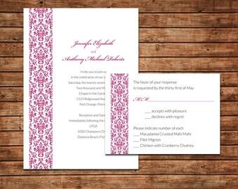 Elegant Damask Wedding Invitation Suite - Sample