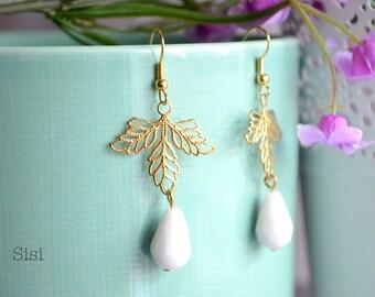 White drop earrings leaf earrings