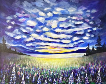 Wildflower Cloudscape Painting - British Columbia Landscape Photo Print