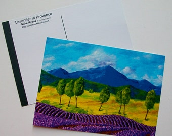 "Lavender In Provence (print reproduction postcard) 5"" x 7"" by Mike Kraus FREE SHIPPING!"
