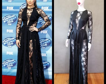 MADE TO ORDER Jennifer Lopez Inspired Black Lace Inspired Dress with Matching Brief
