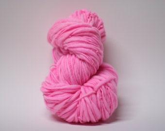 Bulky Thick and Thin Merino Yarn Handspun Wool Slub  Hand Dyed tts(tm) Hot Pink 000x